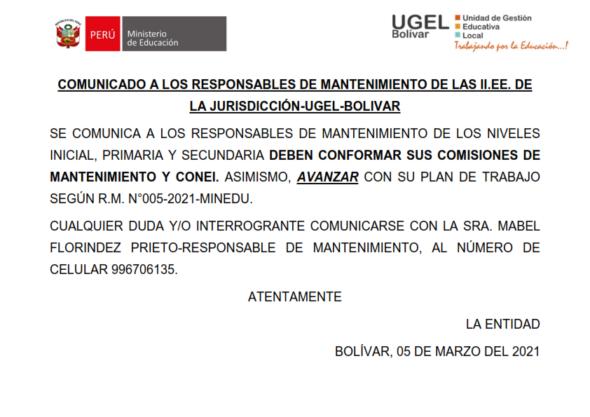 COMUNICADO A LOS RESPONSABLES DE MANTENIMIENTO DE II.EE. DE LA JURISDICCIÓN