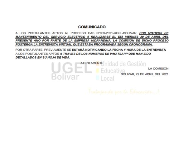 ABSOLUCIÓN DE RECLAMOS-PROCESO CAS N°005-2021-UGEL-BOLIVAR