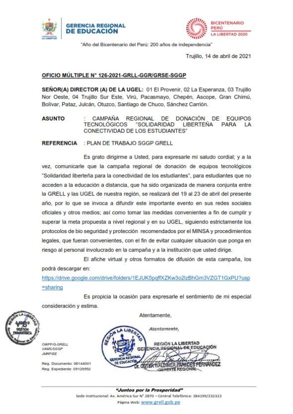 OFICIO MÚLTIPLE N° 126-2021-GRLL-GGR/GRSE-SGGP