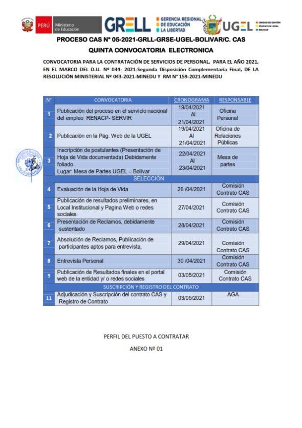 PROCESO CAS N°05-2021-UGEL-BOLIVAR