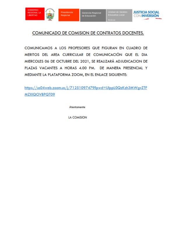 COMUNICADO: COMISION DE CONTRATACIÓN DOCENTE 2021-UGEL-BOLIVAR